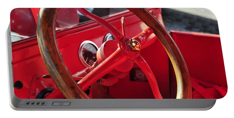 Antic Car Portable Battery Charger featuring the photograph Red Wheel by David Lee Thompson