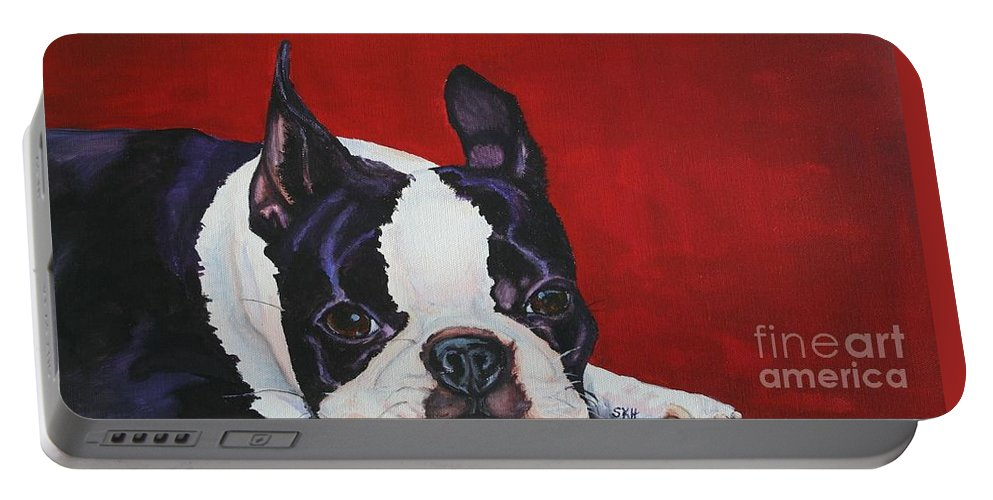 Boston Terrier Portable Battery Charger featuring the painting Red White And Black by Susan Herber