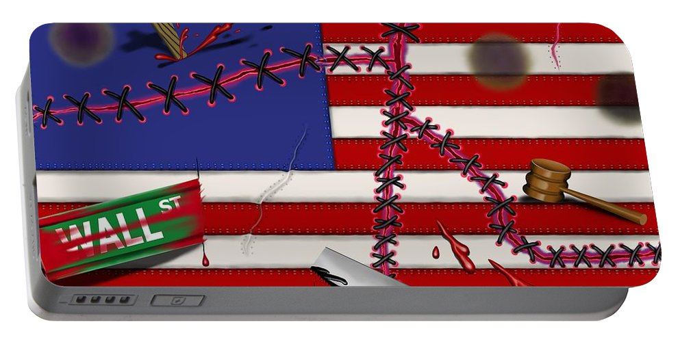 Surrealism Portable Battery Charger featuring the digital art Red White and Bruised III by Robert Morin