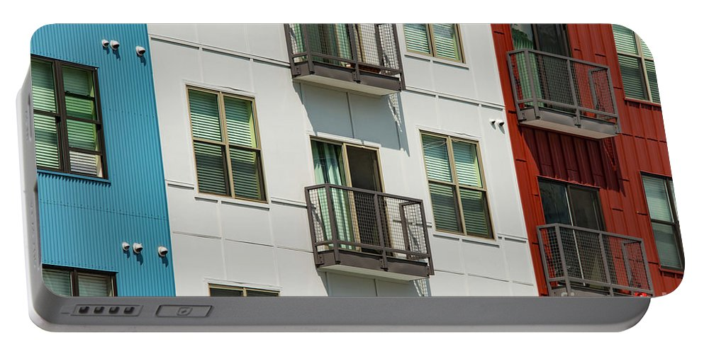 Roanoke Virginia Architecture Apartment Building Buildings Structure Structures Cities Cityscape Cityscapes Apartments Window Windows Door Doors Balcony Balconies Portable Battery Charger featuring the photograph Red - White - Blue by Bob Phillips