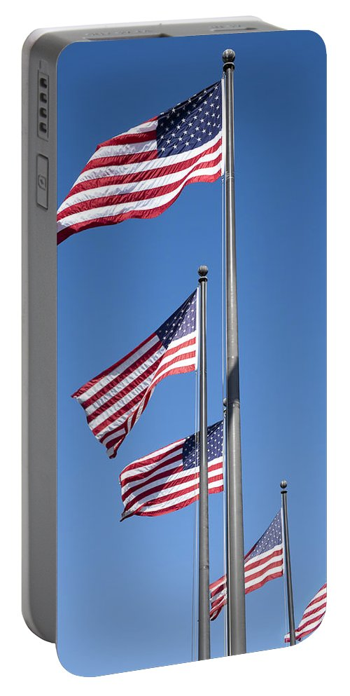 Flags Portable Battery Charger featuring the photograph Red White Blue by Kelley King