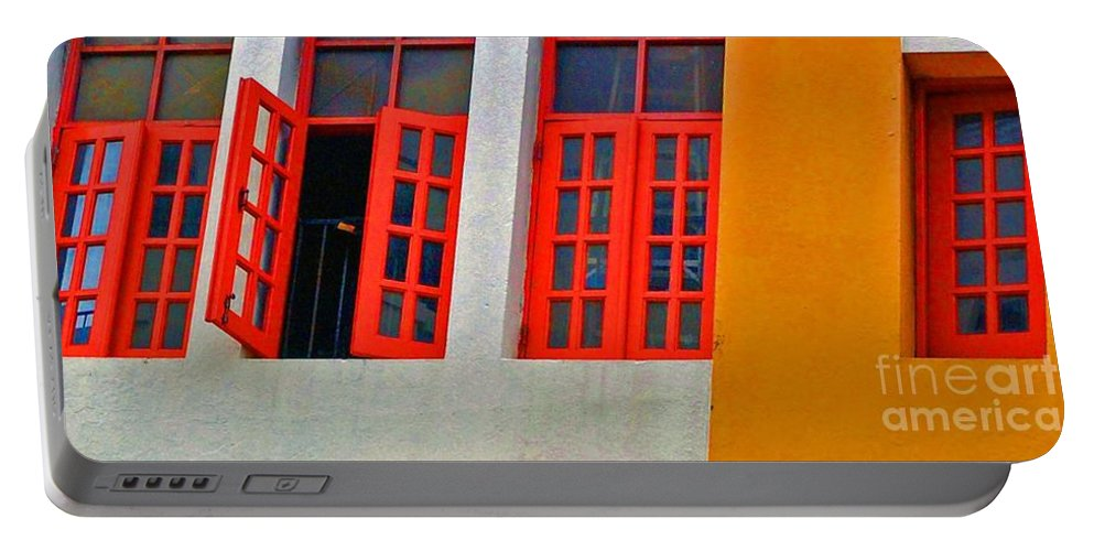 Windows Portable Battery Charger featuring the photograph Red Windows by Debbi Granruth