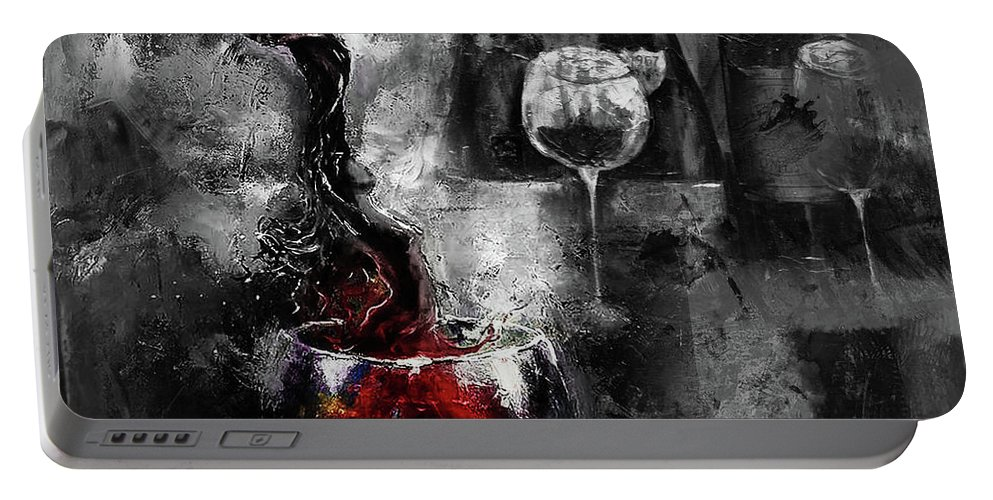 Food Portable Battery Charger featuring the painting Red Wine 01 by Gull G