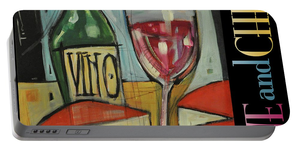 Red Wine Portable Battery Charger featuring the painting Red Wine And Cheese Poster by Tim Nyberg