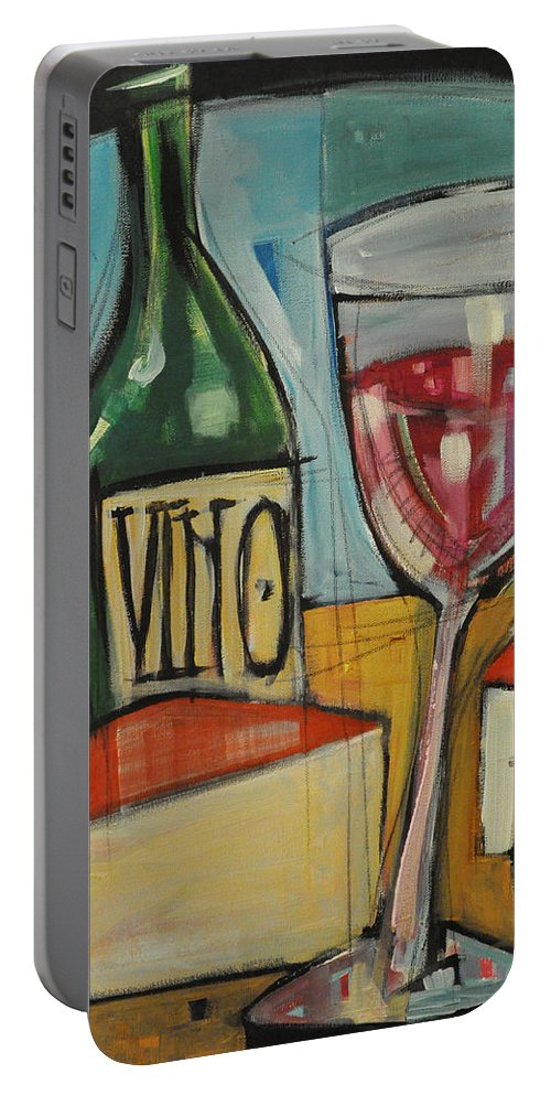 Wine Portable Battery Charger featuring the painting Red Wine And Cheese by Tim Nyberg
