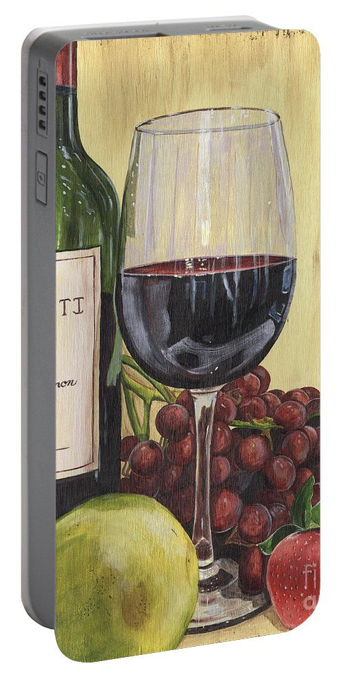 Wine Portable Battery Charger featuring the painting Red Wine And Pear 2 by Debbie DeWitt