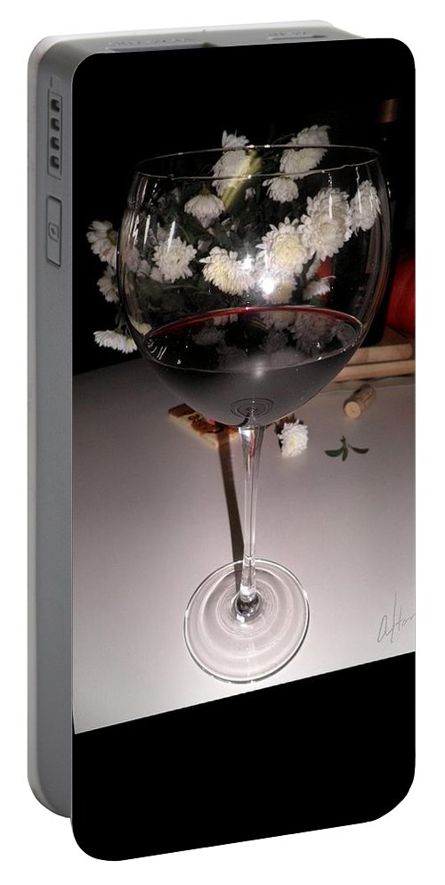 Red Wine Portable Battery Charger featuring the photograph Red Wine With White Mums by T Cook