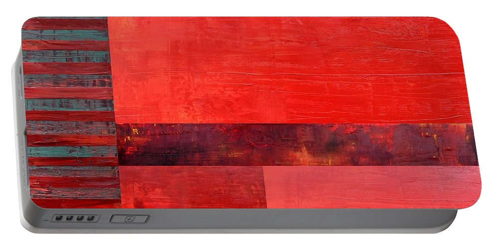 Red Portable Battery Charger featuring the painting Red With Orange 2.0 by Michelle Calkins