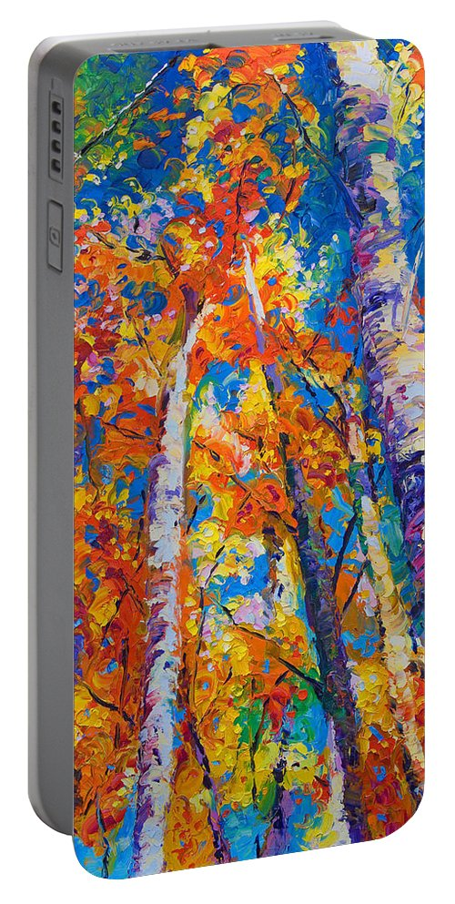 Impresssionist Portable Battery Charger featuring the painting Redemption - Fall Birch And Aspen by Talya Johnson
