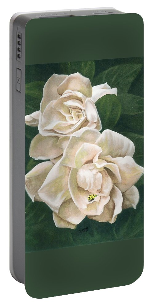 Gardenia Portable Battery Charger featuring the painting Redolent by Barbara Keith