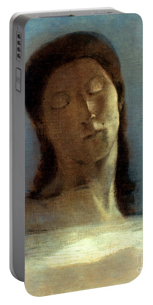 1890 Portable Battery Charger featuring the photograph Redon: Closed Eyes, 1890 by Granger