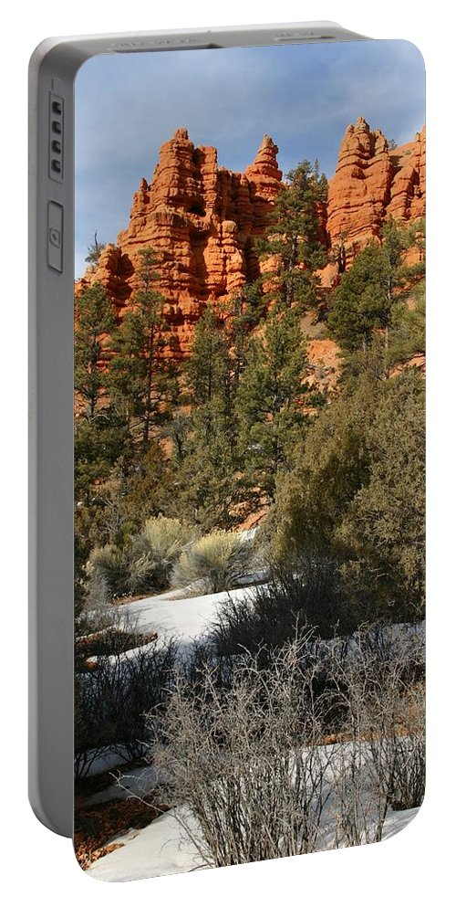 Red Rocks Portable Battery Charger featuring the photograph Redrock Winter by Nelson Strong