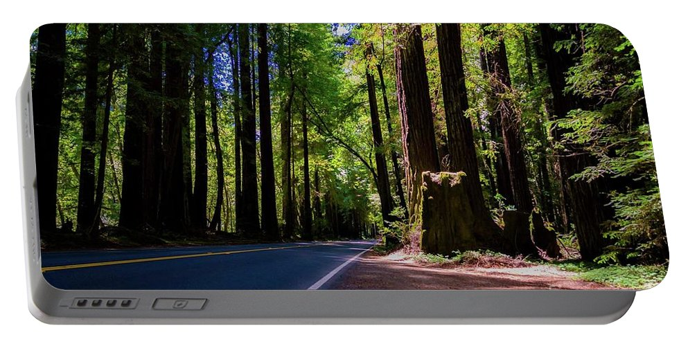 Portable Battery Charger featuring the photograph Redwoods Road by Anthony Lindsay