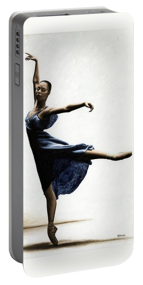 Dancer Portable Battery Charger featuring the painting Refined Grace by Richard Young