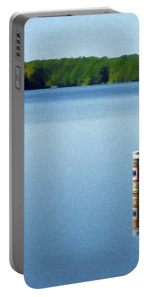 Blue Portable Battery Charger featuring the painting Reflected Warning by Jeffrey Kolker