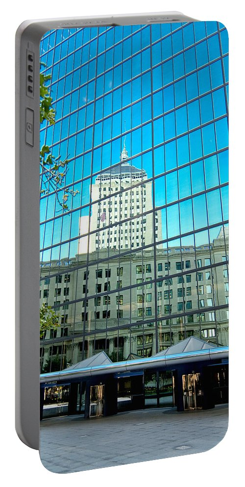 Boston Portable Battery Charger featuring the photograph Reflecting Hancock by Greg Fortier