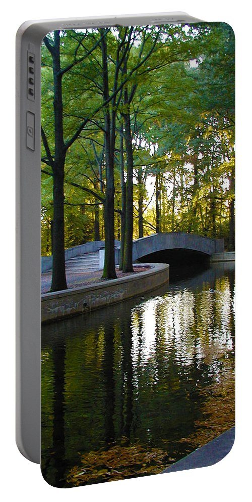 Washington Portable Battery Charger featuring the photograph Reflecting Pool Roosevelt Park by Bill Cannon
