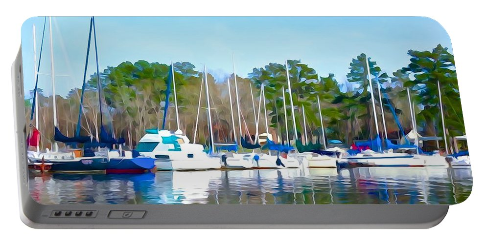 Masts Portable Battery Charger featuring the photograph Reflecting The Masts - Watercolor Style by Charlie and Norma Brock