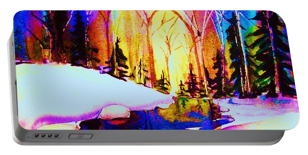 Reflections Portable Battery Charger featuring the painting Reflection by Carole Spandau