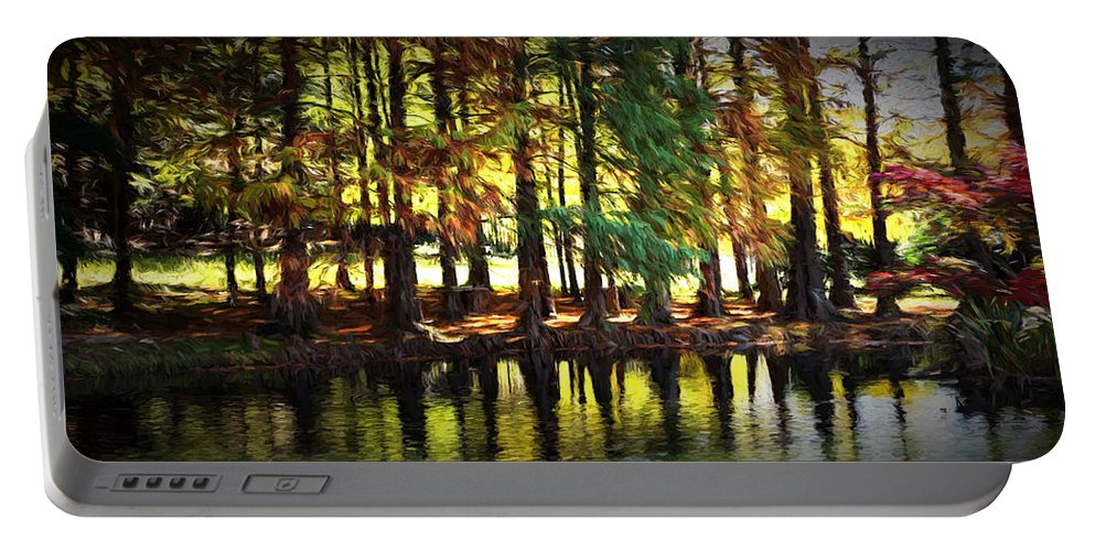 Ann Keisling Portable Battery Charger featuring the photograph Reflection In Paint by Ann Keisling