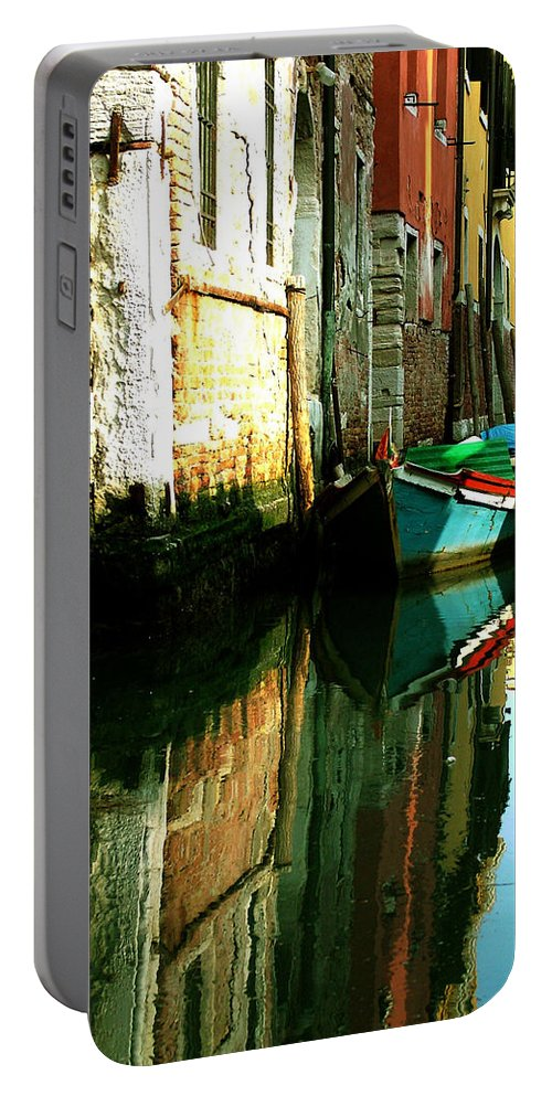 Venice Portable Battery Charger featuring the photograph Reflection Of The Wooden Boat by Donna Corless