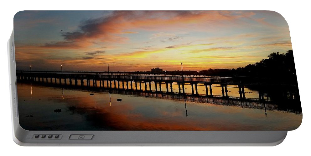 Sunrise Portable Battery Charger featuring the digital art Reflections At Sunrise by Jim Ferro