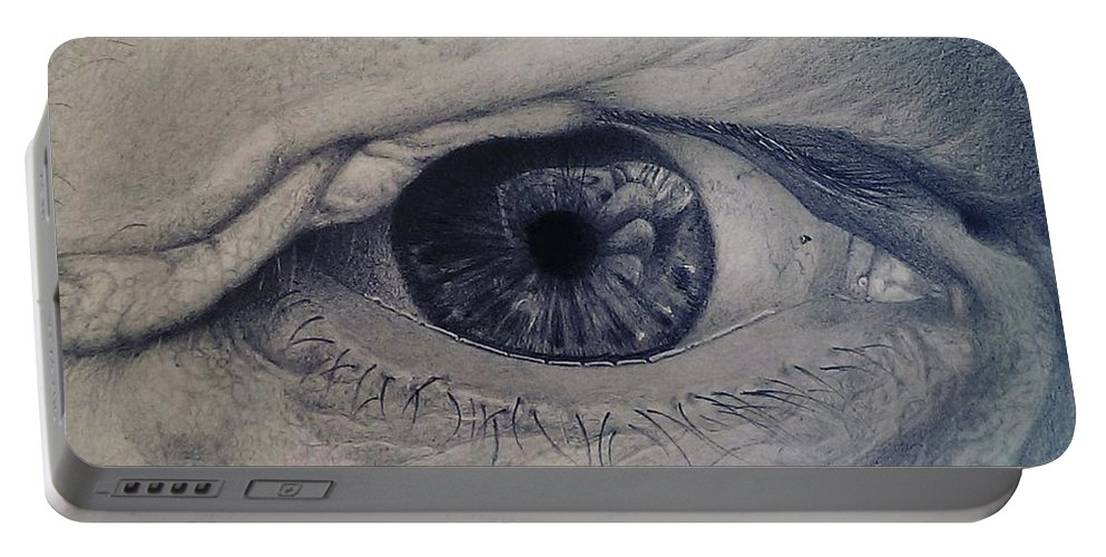 Eye Portable Battery Charger featuring the drawing Reflections by Danny Croft