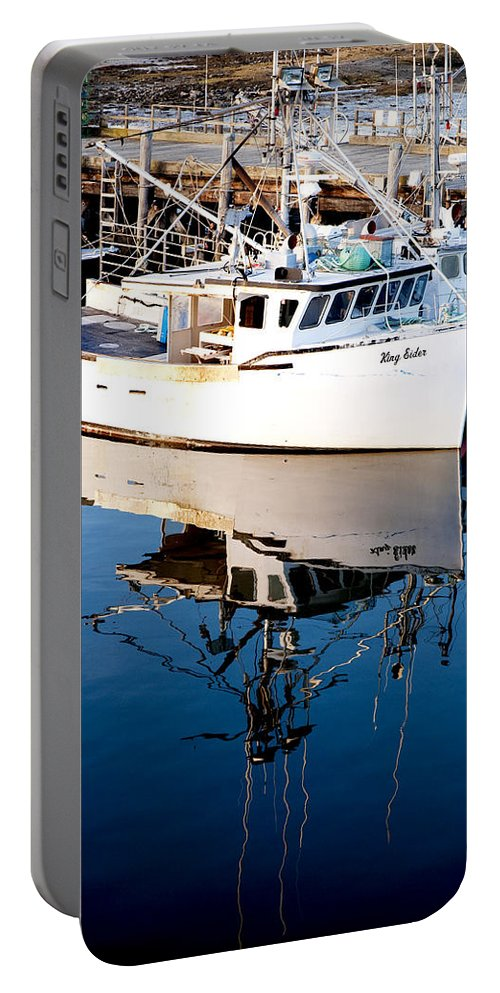 Boat Portable Battery Charger featuring the photograph Reflections by Greg Fortier