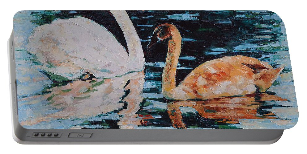 Blue Portable Battery Charger featuring the painting Reflections by Iliyan Bozhanov