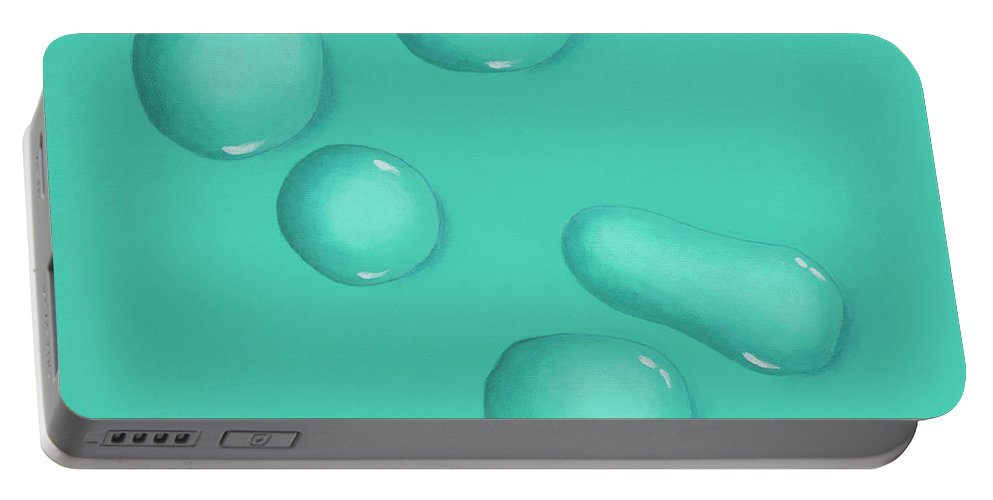 Green Portable Battery Charger featuring the painting Reflections In Aqua Green by Katya Chesser