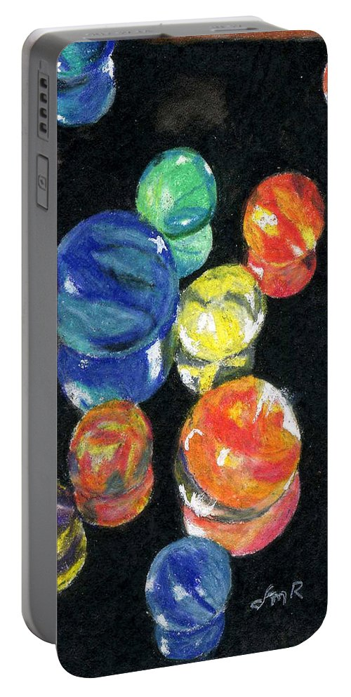 Watercolor Portable Battery Charger featuring the painting Reflections In Black by Lynne Reichhart