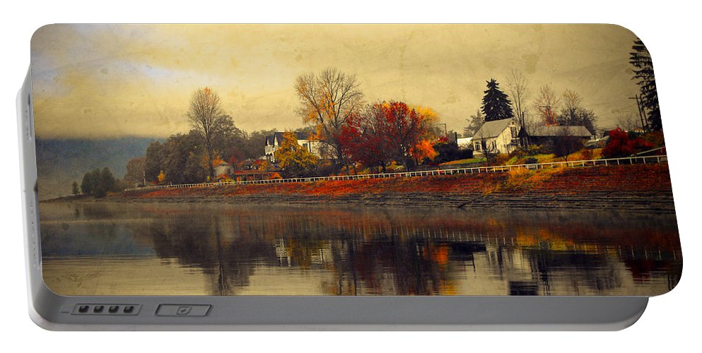 Trees Portable Battery Charger featuring the photograph Reflections In Nakusp by Tara Turner
