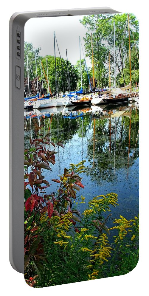 Flowers Portable Battery Charger featuring the photograph Reflections In The Pool by Ian MacDonald