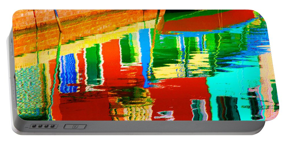 Abstract Portable Battery Charger featuring the pastel Reflections Near The Red Hull by Donna Corless