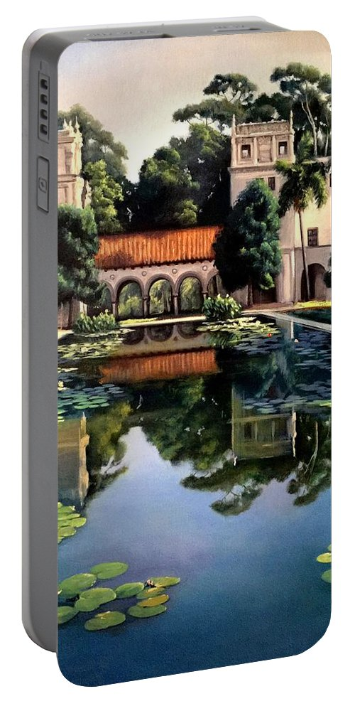 Buildings Portable Battery Charger featuring the painting Reflections by Nella Lorette