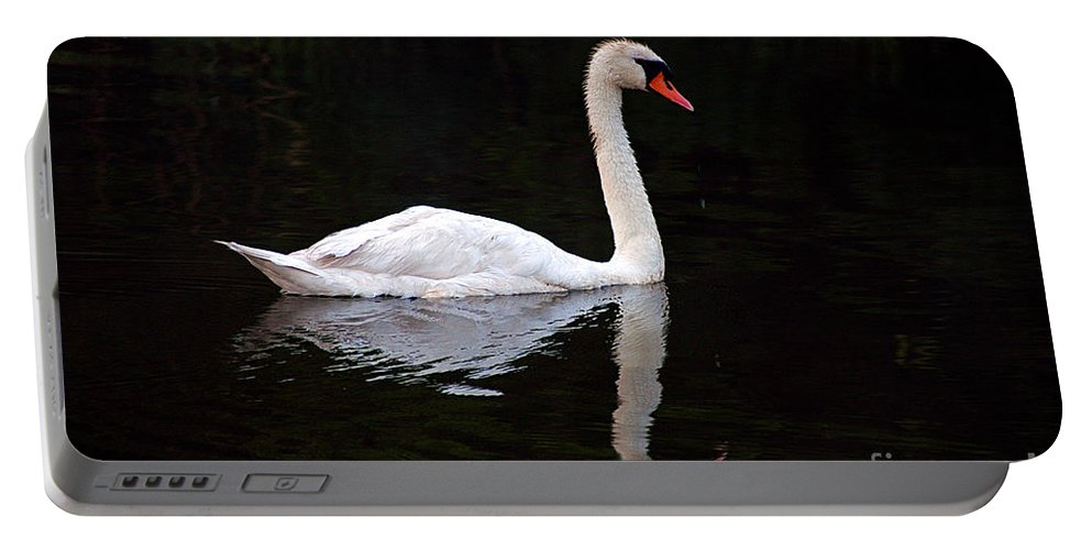 Clay Portable Battery Charger featuring the photograph Reflections Of A Swimming Swan by Clayton Bruster