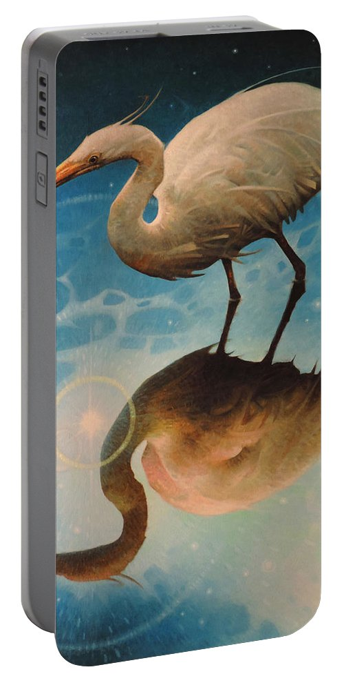 Egret Nature Ocean Wildlife Birds Moon Sunlight Stars Reflection Fantasy Planets Shore Birds Portable Battery Charger featuring the painting Reflections Of Creation by T S Carson