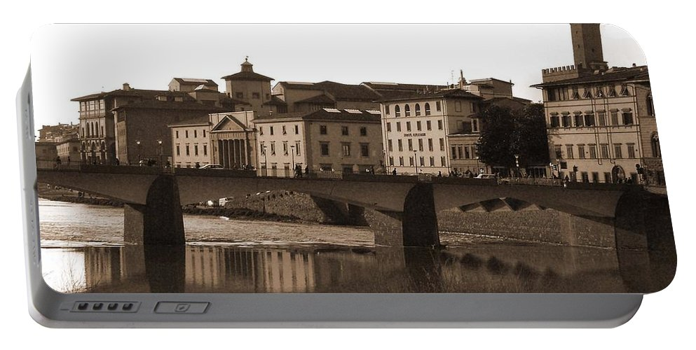 Sepia Portable Battery Charger featuring the photograph Reflections Of Florence by Donna Corless