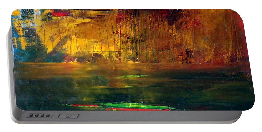 New York City Reflection Red Yellow Blue Green Portable Battery Charger featuring the painting Reflections Of New York by Jack Diamond