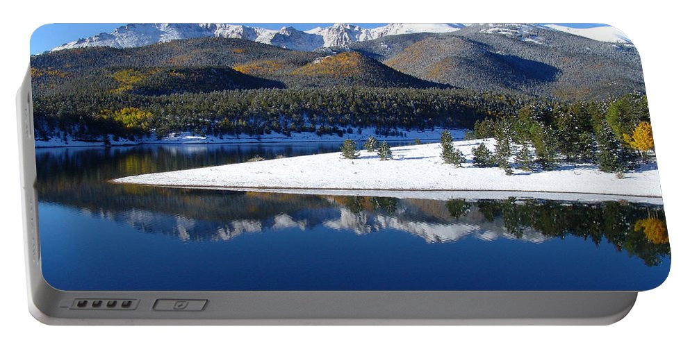 Landscape Portable Battery Charger featuring the photograph Reflections Of Pikes Peak In Crystal Reservoir by Carol Milisen
