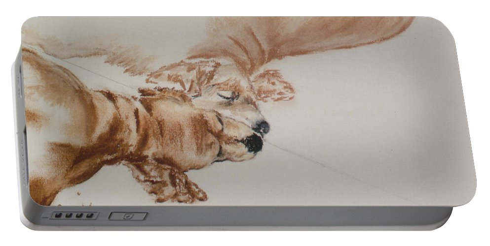 Cocker Spaniel Portable Battery Charger featuring the drawing Reflections Of The Day by Cori Solomon
