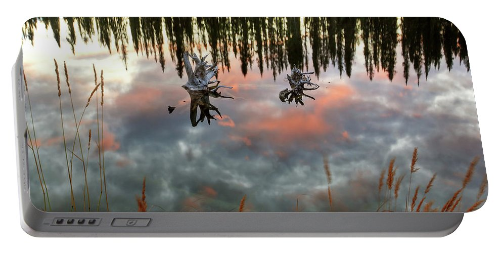 Reflection Portable Battery Charger featuring the digital art Reflections Off Pond In British Columbia by Mark Duffy