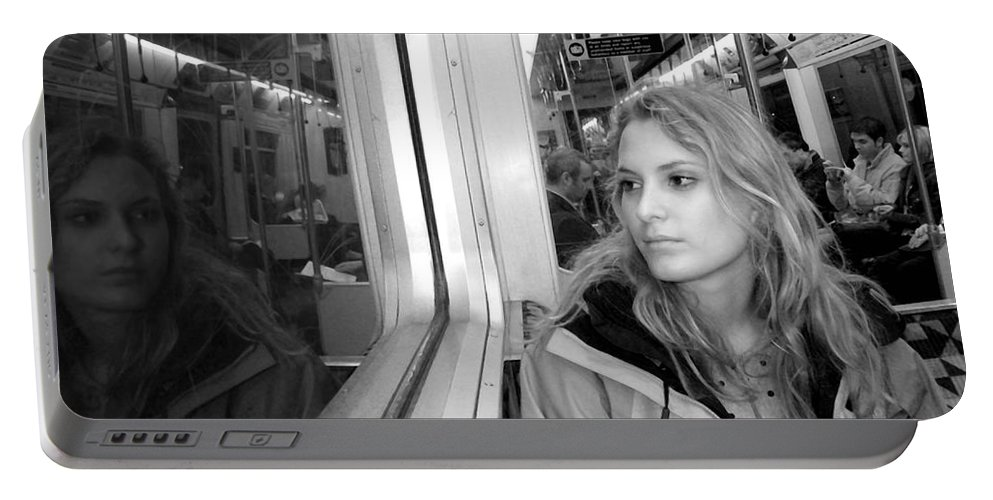 London Portable Battery Charger featuring the photograph Reflections On A London Train by Madeline Ellis