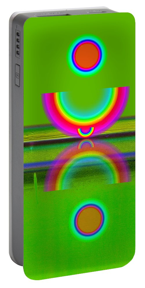 Reflections Portable Battery Charger featuring the painting Reflections On Lime by Charles Stuart