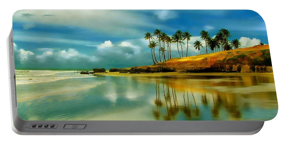 Beach Portable Battery Charger featuring the photograph Reflective Beach by Dawn Van Doorn