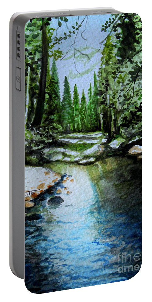 Watercolor Portable Battery Charger featuring the painting Reflective by Elizabeth Robinette Tyndall
