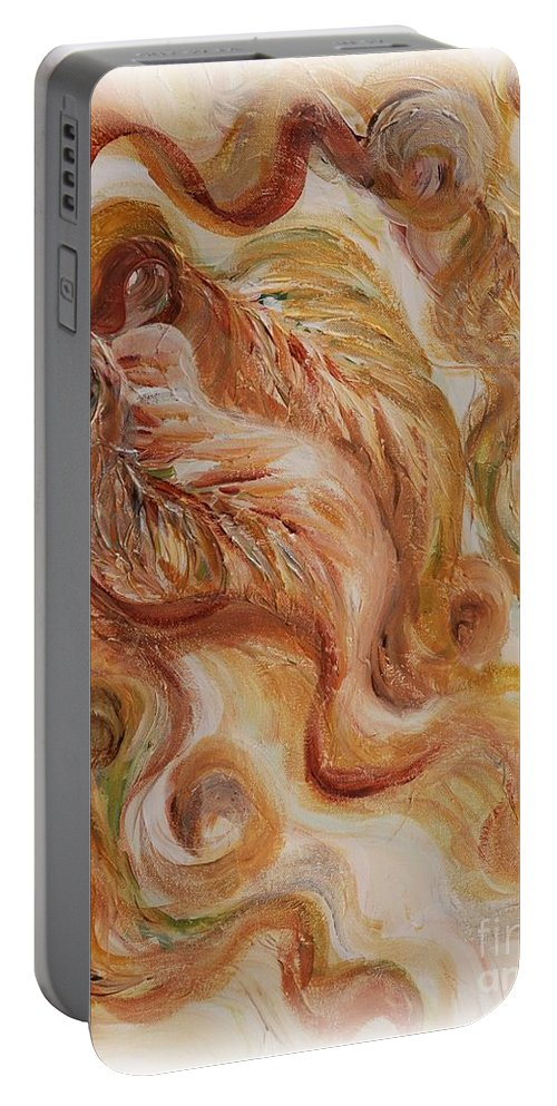 Leaves Portable Battery Charger featuring the painting Reflective Leaves by Nadine Rippelmeyer