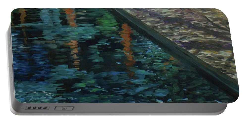 Water Portable Battery Charger featuring the painting Reflective State by Susan Moore