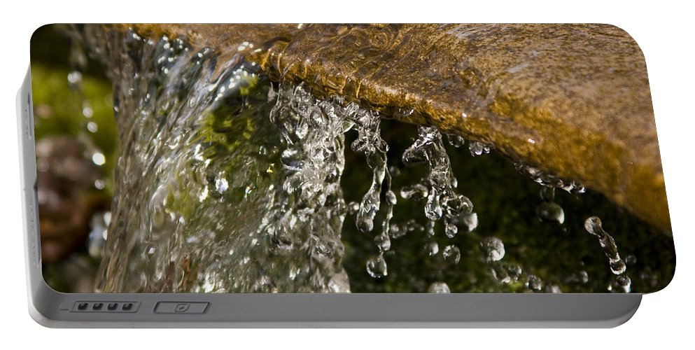 Water Stream Creek Drop Droplet Stone Run Nature Clear Cold Fall Portable Battery Charger featuring the photograph Refreshment by Andrei Shliakhau
