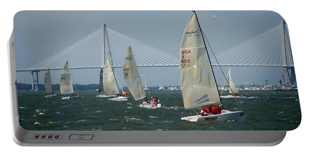 Photography Portable Battery Charger featuring the photograph Regatta In Charleston Harbor by Susanne Van Hulst